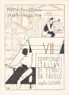 TABLE TENNIS-TISCHTENNIS-PING PONG-TENNIS DE TABLE-TENNIS TAVOLO, ITALY, 1954, Special card + postmark / RRR !!