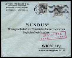 A3528) Österreich Austria Auslandsbrief Von Rotterdam 4.1.17 Mit Seltener Zensur Bei Ankunft - 1850-1918 Imperium