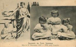 Dép 65 - Enfants - Ger Près De Lourdes - Souvenir Des Trois Jumeaux Nés Le 27 Décembre 1907 - état - Francia