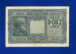ITALIA LUOGOTENENZA - 10 LIRE GIOVE - QUALITA' BB/SPL - UN. BS 19C - [ 1] …-1946 : Regno