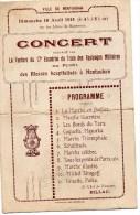 RARE)  INVITATION CONCERT POUR BLESSES -18 AVRIL 1915 -AU DOS ORDRE DE TRANSPORT DE SOLDAT EN PRISON (NOMME) - 1914-18