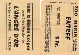 510Bf   Lot De 2 Billets D'entrée Du Zoo Marin Des Sables D'Olonne - Tickets D'entrée