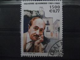 ITALIA USATI 2001 - SALVATORE QUASIMODO  - SASSONE 2555 - RIF. M 0260 - 6. 1946-.. Repubblica