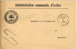 15502. Carta Franquicia IXELLES (Brabant) Elsene 1914. Guerre - Bélgica