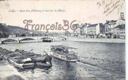 Liége - Quai Des Pecheurs Et Vue Sur La Meuse - Péniches - 2 SCANS - Liege