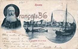 Anvers Antwerpen - Roi Des Belges - Le Panorama De La Ville - Voiliers Sailtboats - 2 SCANS - Antwerpen
