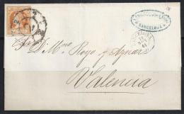 ESPAÑA 1864- Envueltas Barcelona A Valencia - 1850-68 Royaume: Isabelle II