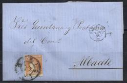 ESPAÑA 1864- Envueltas Barcelona A Albacete - 1850-68 Reino: Isabel II