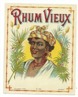 Ancienne étiquette Rhum  Vieux   N°159 Femme  étiq Vernie - Rhum