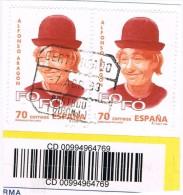 Fragmento Dos Sellos Fofó, Payaso Aragon, Certificado PORTBOU (gerona)  Edifil Num 3547 º - 1931-Aujourd'hui: II. République - ....Juan Carlos I