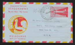 AUSTRALIA Aerogramme 10d Airplane World Power Conference 1963 Wilkes Cancel To USA! STK#X20747 - Postal Stationery