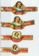 4 Alte Zigarrenbanderolen - Bauchbinden Der Zigarrenmarke: Gloria - Bauchbinden (Zigarrenringe)