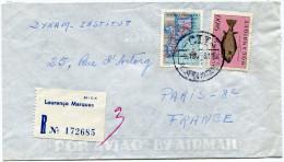 MOZAMBIQUE LETTRE RECOMMANDEE PAR AVION DEPART LOURENCO MARQUES ?-10-58 POUR LA FRANCE - Mozambique