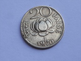 INDE 20  PAISE 1970 HYDERABAD  - KM 41  NICKEL LAITON - Inde