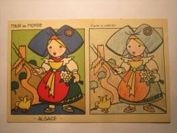 CARTE POSTALE A COLORIER - TOUR Du MONDE - ALSACE -  (FANTAISIES.A SYSTEME) - Cartoline Con Meccanismi