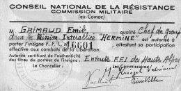510Bf   Conseil National Resistance Comission Militaire Comac Gap Chef Groupe FFI Mission Interalliée Hermine - Militaria