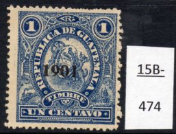 """Guatemala 1901 Revenues:  Ship; Steam Train At LEFT Design. Perf 12 :  1c Optd 1901, """"9"""" With Pointed Tip."""