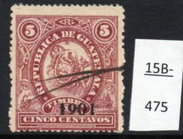"""Guatemala 1901 Revenues:  Ship; Steam Train At LEFT Design. Perf 14x12 :  5c Optd 1901, """"9"""" With Pointed Tip - Trains"""