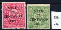 Guatemala 1901 Larger Format Revenues:  Ship; Steam Train. 25c/50P & 25c/10P Large Font Surch. - Trains