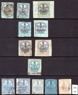 Austro-Hungary : Collection Of Revenue Stamps & Cut-Outs With Steam Locomotive, Ship, Hermes / Mercury - Trains