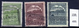 Hungary : 1926-1930 Steam Locomotive Revenue Stamps, Most Attractive. Used (3), See Text. - Trains