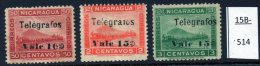 Nicaragua : Railway Train Volcano Momotombo Telegraph  1907 10c/50c, 15c/2c, 15c/3c Mint No Gum  (3)