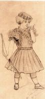 Portrait De  Jeune Fille Dessin Au Crayon Fait Main Habillée EnTenue De Chasse Tenant Son Arc  Signé - Litografía