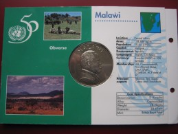Malawi 1995 UNC 5 Kwacha United Nations 50-th Anniversary Sealed In Card - Malawi