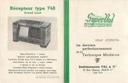 PUBLICITEE SUR SUPERVAL POSTE DE RADIO TYPE 648 TYPE 748 ET 748 GRAND LUXE - Werbung