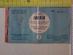 Cart.-   Vecchio Biglietto Aereo  - Barcellona-Madrid - Della IBERIA ,linea Aerea Spagnola. - Non Classificati