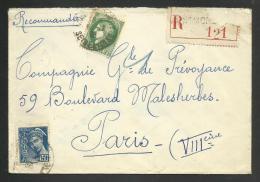 Recommandée De MONTMORENCY - SEINE ET OISE 12.1939 Pour PARIS / Affr.cérès & Mercure - Marcophilie (Lettres)