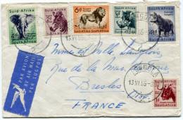 AFRIQUE DU SUD LETTRE PAR AVION DEPART PONGOLA 13 VI 55 POUR LA FRANCE - Storia Postale