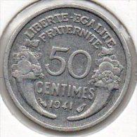 France - 50 Centimes 1941 - Morlon - Lourde 0,8g - G. 50 Centimes