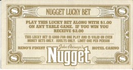 John Ascuaga's Nugget Casino Lucky Bet Coupon From Sparks, NV - Advertising