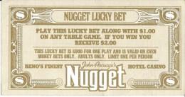 John Ascuaga's Nugget Casino Lucky Bet Coupon From Sparks, NV - Publicidad