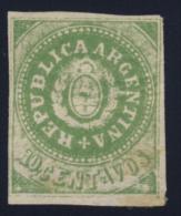 """1862 Coat Of Arms - """"REPUBLICA"""" - 10 Centavos Verde - Senza Gomma MH* - Argentina"""