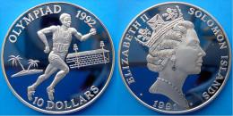 SOLOMON ISLANDS 10 $ 1991 ARGENTO PROOG OLYMPIC GAMES 92 RUNNER BARCELLONA PESO 31,42 TITOLO 0,925 CONSERVAZIONE FONDO S - Salomonen