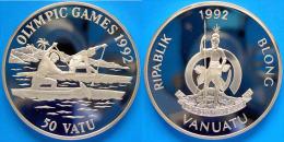 VANUATU 50 V 1992 ARGENTO PROOF OLYMPIC GAMES CANOA PESO 31,47 TITOLO 0,925 CONSERVAZIONE FONDO SPECCHIO - Vanuatu