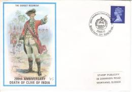 British Military Uniforms -  The Dorset Regiment   -  Death Of Clive Of India  -  FDC  - Enveloppe 1er Jour - Militaria