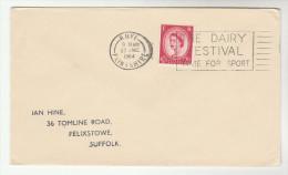 1964 Rhyl GB Stamps  COVER  SLOGAN Pmk DAIRY FESTIVAL TIME FOR SPORT - 1952-.... (Elizabeth II)