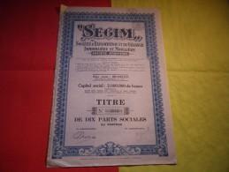 SEGIM Exploitation Et Gerance Immobiliere - Actions & Titres