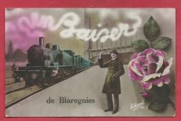 Blaregnies - Un Baiser De ... - Jolie Fantaisie , Loco Vapeur - 1921 ( Voir Verso ) - Quévy