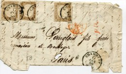 CHAMBERY Devant De Lettre Du 17/01/1858 Avec N°11 X3 - Sardegna