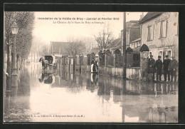 CPA Bray-sur-Seine, Inondation 1910, Le Chemin De La Gare De Bray Submergé, Inondation, Attelage à Cheval - Bray Sur Seine