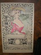 Gaston NOURY - Jeune Femme Aux Colombes Et Au Coffret , Style Art Nouveau - Illustrateurs & Photographes