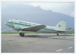 Carte Postale Couleur, Avion Bretagne Air Service DC-3 (F-BYCU) Chambéry, Aviation Civile - 1946-....: Modern Era
