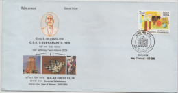 India 2004  Solar Chess Club  Chess Board  Chennai   Special Cover # 86777  Inde Indien - Chess