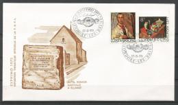 ENVELOPPE COMMEMORATIVE EXPHIMO 1975 TP N° 904 + 906 (CACHEL POSTAL DE MONDORF-LES-BAINS)  (SCAN VERSO) - Cartes Commémoratives