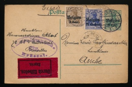 1916 VAN BRUXELLES NAAR ASSCHE DURCH EILBOTEN EXPRES - DUITSE STEMPEL BRUXELLES - 2 SCANS