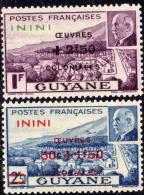 Inini N° 57 / 58  X Timbres De Guyane ( Mal Pétain)  Surchargé Oeuvres Coloniales : La Paire Trace De Charnière Sinon TB